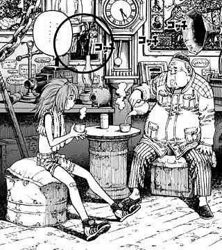 銃夢LO単行本2巻177p、PHASE12「夢の罪の重さを」の 一シーン。 アンティーク屋の親父の回想を聞くコヨミちゃんである。  画面の中央の額縁に注目。